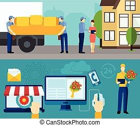 bannières, service, ensemble, livraison, plat, maison