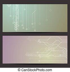 bannières, technologie, résumé, circuit électronique