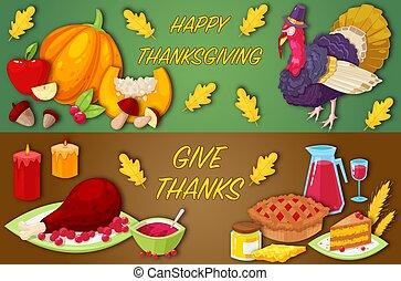 bannières, thanksgiving, jour