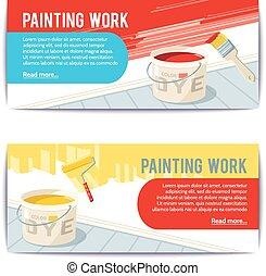 bannières, travail, peinture