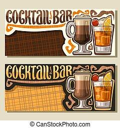 bannières, vecteur, barre, cocktail