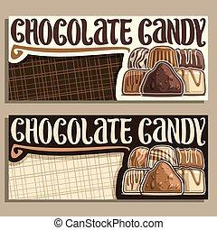 bannières, vecteur, bonbon, chocolat