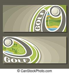 bannières, vecteur, golf