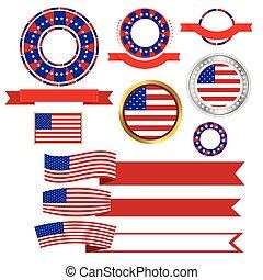 bannières, vecteur, rubans, américain