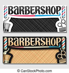 bannières, vecteur, salon coiffure