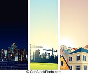 bannières, vertical, vecteur, backgrounds., cityscape
