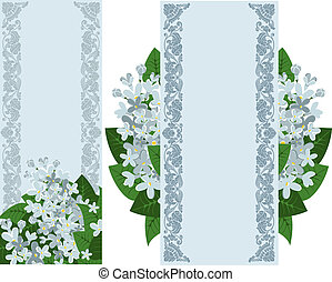 bannières verticales, deux, lilas