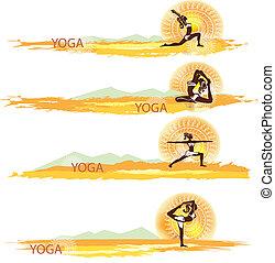 bannières, yoga., ensemble