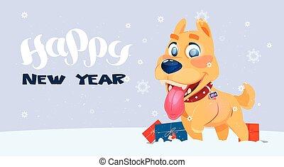 bannner, αφίσα , σύμβολο , σκύλοs , χιονόπτωση , 2018, φόντο...