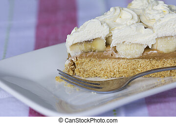 Banoffee Pie on a Plate with Fork - Horizontal