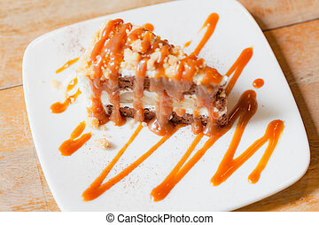 Banoffee pie with caramel sauce