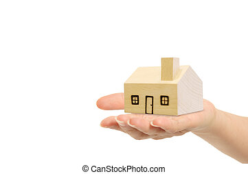 banor, klippning, hus, isolerat, hand, bakgrund., included, vit