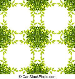 banor, klippning, löv mönstra, isolerat, bakgrund., grön, included., vit