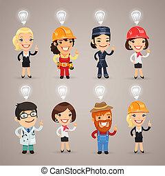 banor, klippning, sätta, extra, gruppera, tecken, format., heads., yrke, idé, olik, varje, deras, ovanför, undertecknar, included, element, eps, separately., fil