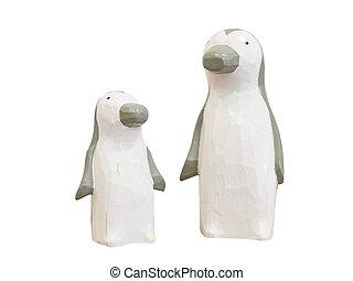 banor, klippning, trä, isolerat, bakgrund., included, vit, dockor, pingvin
