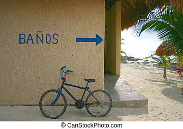 beach-side public bathrooms on the island of Cozumel