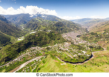 Banos De Agua Santa Aerial Shot From Nne Pastaza River In The Foreground And Tungurahua Volcano In The Background