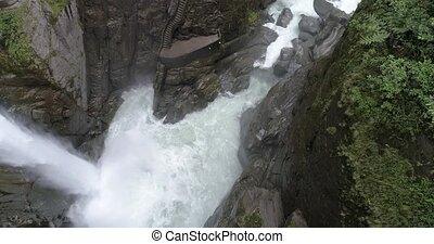 Banos, Ecuador - September 24, 2018 - Drone Pivot From Bottom to Stairs of Pailon del Diablo Devil's Cauldron.