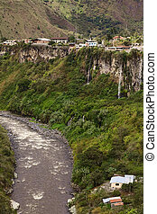 Banos, Ecuador - The Pastaza River and the small town of...