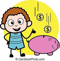banque argent, gosse, porcin, dessin animé, économie
