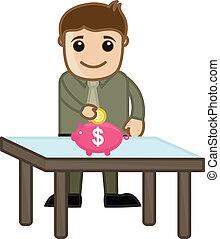 banque, argent, -, porcin, économie