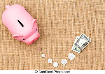 banque argent, porcin, mener, piste