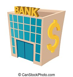 banque, bâtiment, icône, style