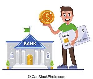 banque, banque, sien, profitable, reçu, card., personne, cashback, affaire