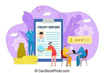 banque, concept, crédit, bureau, illustration., projection, finance, application, vecteur, formulaire, prêt, ou, businessman., document, financier
