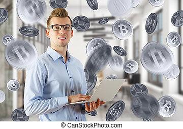 banque, concept, e-affaires
