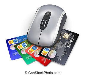 banque, concept, faire courses ligne