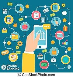 banque, concept, ligne