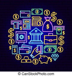 banque, concept, néon
