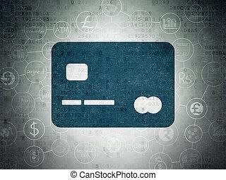 banque, crédit, carte papier, fond, numérique, données, concept: