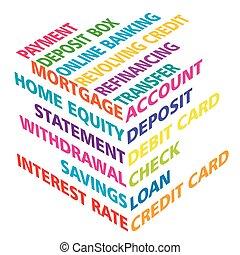 banque, cube, termes, 3d