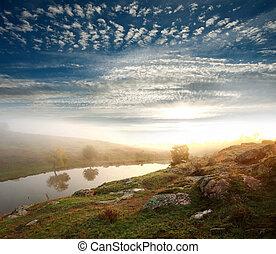 banque, de, les, rivière, sur, soleil levant