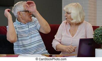banque, discuter, couple, tenue, planification, factures, ...