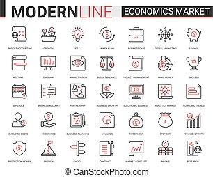 banque, données bourse, ligne, technologie, commercialisation, recherche, illustration, économie, analyse, symboles, plat, finance, compte, banque, ensemble, vecteur, icône
