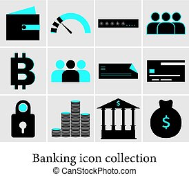 banque, ensemble, finance, icons.