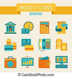 banque, ensemble, icons., argent