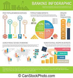 banque, ensemble, infographics