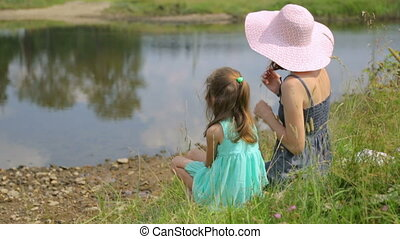 banque, fille, reposer, mère, rivière