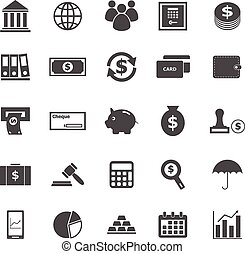 banque, fond blanc, icônes