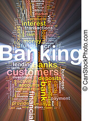 banque, fond, concept, incandescent