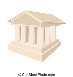 banque, icône, dans, dessin animé, style