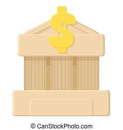 banque, icône, dessin animé, style