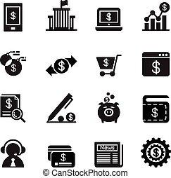 banque, icônes internet