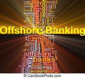banque, incandescent, concept, mer, fond