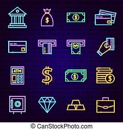 banque, néon, icônes