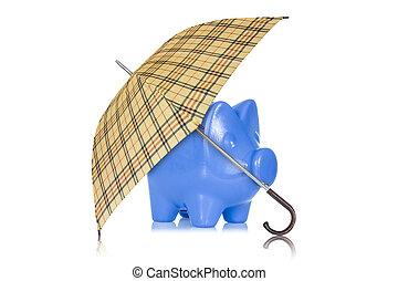 banque, parapluie blanc, porcin, fond